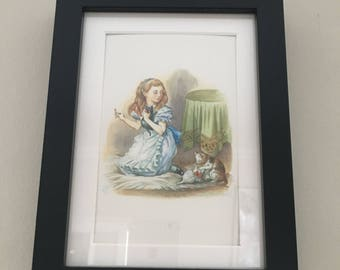 Classic Alice in Wonderland Illustration - framed Postcard - Alice with Kitten