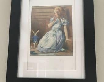Classic Alice in Wonderland Illustration - framed Postcard - Alice