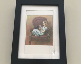 Classic Alice in Wonderland Illustration - framed Postcard - Alice playing with Kitten