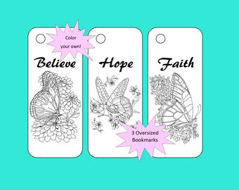 Color your own bookmarks - Believe, Hope, Faith