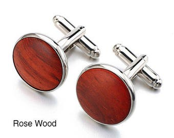 Round 18mm Wood Cufflinks