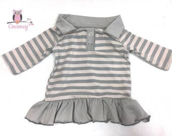 Baby shirt beige & gray - girl sweater striped - Jersey stripe sweater valance - hand made children clothes - tailor made child