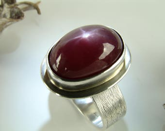 Star Ruby Ring, Sterling Silver 925,Oxidised,Handmade,Coctail Ring,Statement Rings