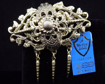 NEW OLD VINTAGE goldtone filigree pendant w/3 drops Brooch by Whiting and David