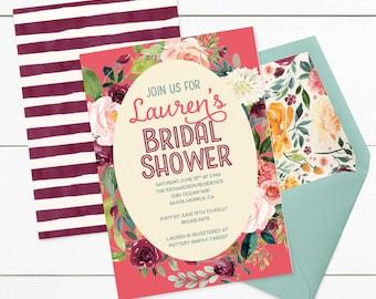 Custom Fall Bridal Shower Invitation Marsala & Pink Watercolor Floral Autumn Bridal Shower Invite - CUSTOMIZED PRINTABLE INVITATION
