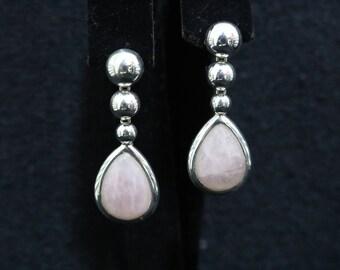 PEAR pink quartz earrings