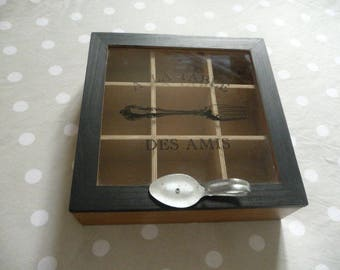 """Wooden tea box """"At the table with friends"""""""