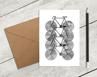 Bicycles, Greeting Card, Bikes, Cycling, Bike Riding, Black and white, Zentangle