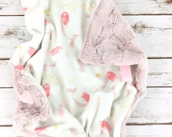 Lovey - Lovey Blanket - Minky Lovey Blanket - Mermaid Lovey - Pink Lovey - Mermaid Blanket - Blush Lovey - Baby Lovey - Pink Mermaid Blanket