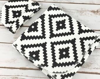 Boy Swaddle and Hat Set - Swaddle Set - Swaddler - Black and White - Baby Blanket - Swaddling Blanket - Receiving Blanket - Baby Wrap