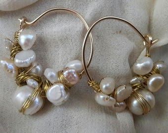 Golffilled earrings with white fresh water pearls nr26