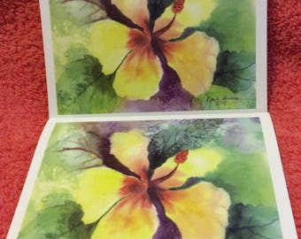 Note Cards Set #7 yellow Hibiscus