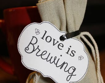 love is brewing tags wedding bridal reception favor