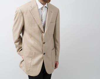 Loro Piana Cashmere Sports Jacket Blazer / Vintage Large Beige Camel Soft Suit Coat