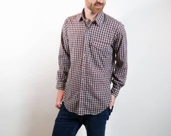 Vintage Cotton Flannel Shirt / Hathaway Brand Plaid Tartan Shirt / Mens Medium Size Checkered Outdoors Shirt / Made in Hong Kong Button up