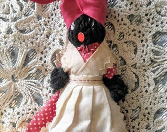 VINTAGE/ANTIQUE Mammy Bell-African-Black-American-Red, Polka Dot-Doll-Apron-FREE Shipping