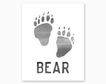 BEAR PAW, Bear Tracks, Bear Wall Art Printable, Instant Download, Woodland Nursery Printable, Forest Nursery Art, Bear Print, Bear Poster