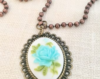 Mixed Metal Flower Cameo Necklace
