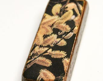 Thistle on Black Wooden Pendant