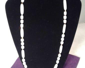 Trifari white lucite and gold tone necklace