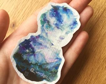 Mountains metallic sticker