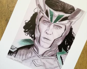 Loki pencil drawing - high quality print