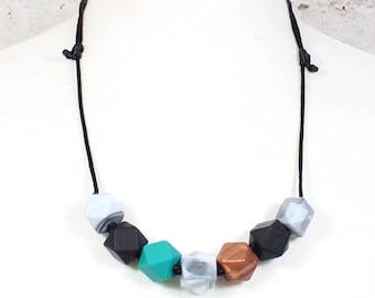 Penelope Turquoise Geo Beads Silicone Teething Necklace
