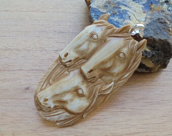 Horse Group Bone Carving in Brown/Antique Color, Horse Bone Pendant P300