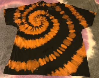 Black & orange tie dyed cotton shirt size L