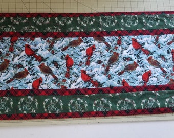 Quilted Cardinal Table runner, table topper, quilted table decor, kitchen decor