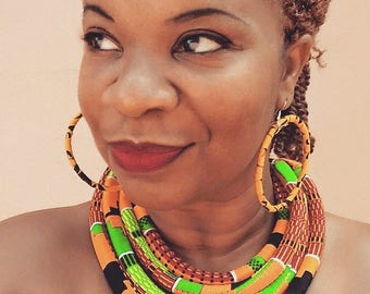 African Cloth Necklaces
