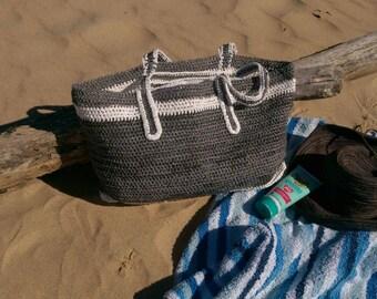 Beach Bag Style- Plarn Bag- Crochet Bag-Recycled Plastic bags