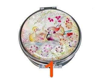 Korean Art Deco Mirror - Pocket Mirror - Hand Mirror - Handbag Mirror - Lipstick Mirror Mother of Pearl Korean Traditional Unique Beautiful