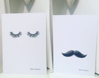 His and Hers (Eyelashes or mustache) prints