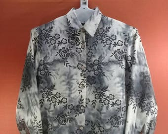 Vintage Marc Allan Long Sleeve Shirt Abstract Floral Fullprint Shirts  Black White Colour Size 8 Hawaiian Shirt Flower Shirts Designer