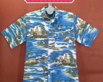 Vintage Hawaiian Shirt Maui Shirts  Blue Beach Village Patterned Blue Colour Size L Hawaiian Shirts Sun Surf Tommy Bahama