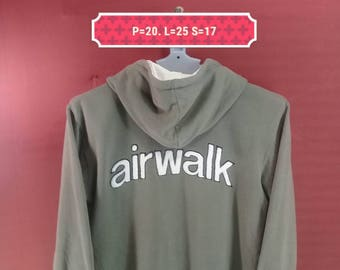 Vintage Airwalk Hoodie Sweatshirt Zip-up Sweater Spellout Shirt Gray Colour Size 160 Hip Hop Adidas Sweatshirt Supreme Sweatshirt Sportwear