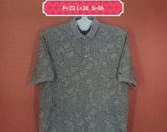 Vintage Izod Shirt Polo Shirt Fullprint Wild Floral Shirt Brown Colour Size M Floral Hawaiian Shirt Aloha Shirt Sun Surf Shirt