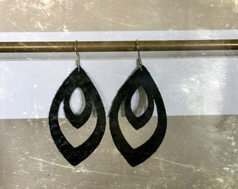 Black basketweave leather earrings