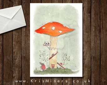 Whimsical Autumnal Critters Greetings Card - Shelter from the Shower