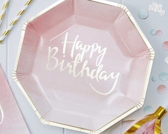 Pink and Gold Ombre Happy Birthday Plates, Pink Paper Plates, Birthday Paper Plates, Party Plates, Gold Paper Plates, Ombre Party
