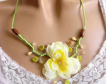 Yellow Daffodil flower branch necklace pearls and citrine chips.
