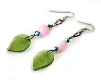 Pink turquoise earrings and vegetable Green