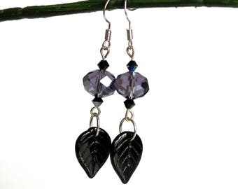 Black leaves and purple crystal earrings