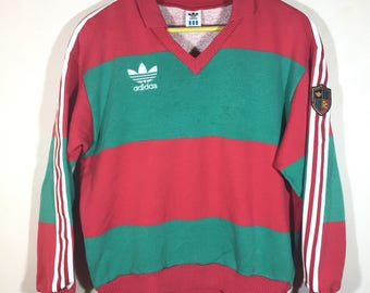 Rare!! Vintage!! Adidas trefoil!! Color block!! Embroidery!! Side-tape!! Adidas fc!! 90's fashion!! Streetwear!! 90's sport gear!!