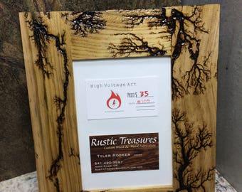 Fractal Photo frame #105 (5x7 photos) wood burning / lichtenberg patterns
