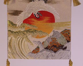 Japanese Crane over waves with turtles gift wrap
