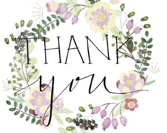 Floral & Calligraphy | Downloadable Thank You Notes