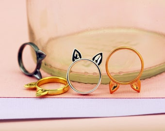 Handmade Sterling Silver 'Kitty Meow' Cat Ear Ring