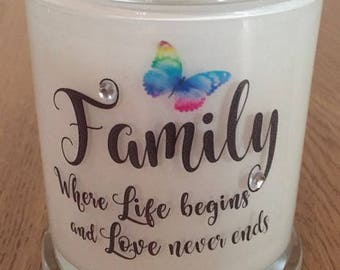 Soy Wax Candle, Large, Hand Poured, Beautiful Family Quote